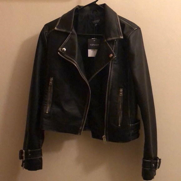 965ca9727a Topshop Jackets & Coats | Washed Wolf Zipper Moto Jacket Size 6 ...
